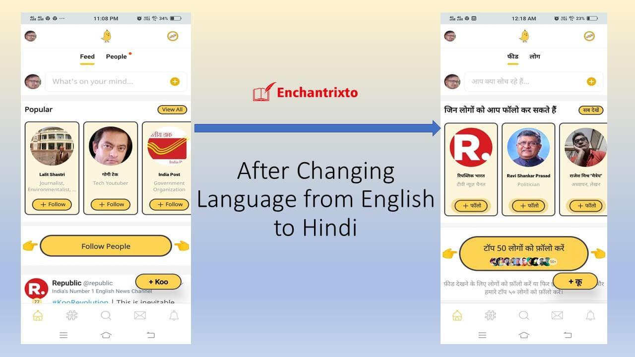 Koo App - English to Hindi