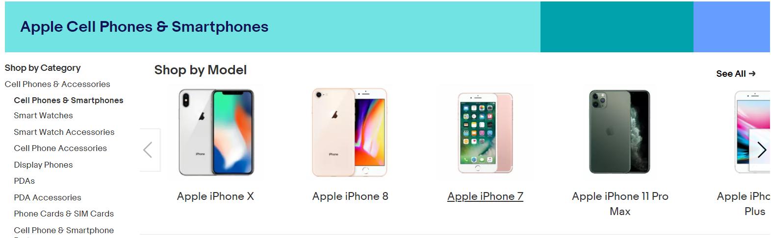 Apple smartphones on ebay