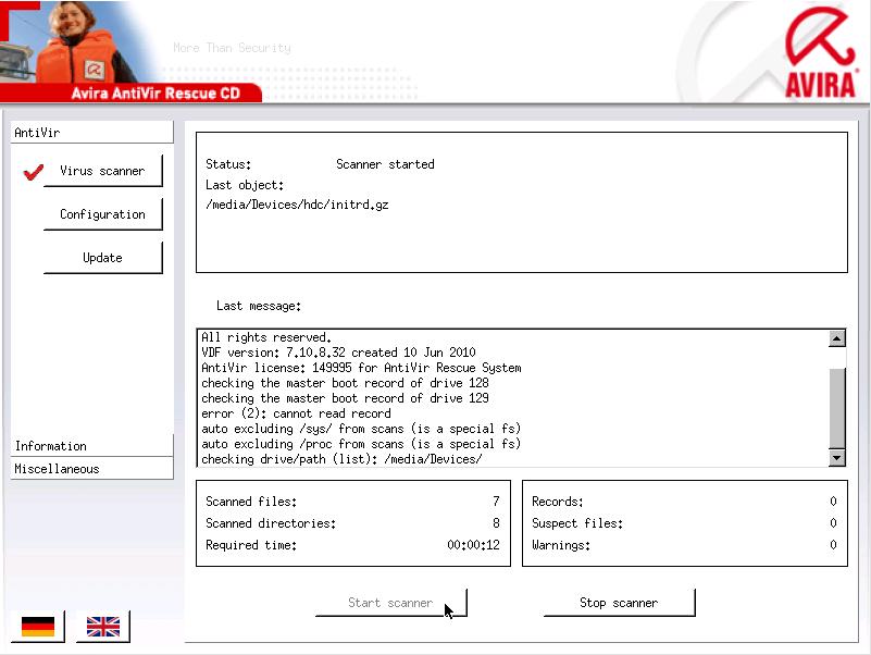 Avira Antivir rescue - Bootable Antivirus